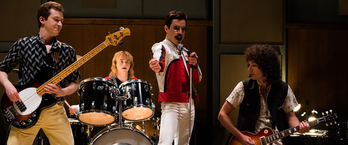 Rami Malek as Freddie Mercury in Bryan Singer's overrated 2018 film Bohemian Rhapsody