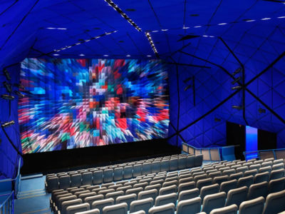 The inside of the Redstone Theater at the Museum of the Moving Image (MoMI) in Astoria, Queens NYC